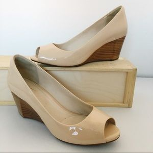 Cole Haan Patent Leather Cream Open Toe Wedge